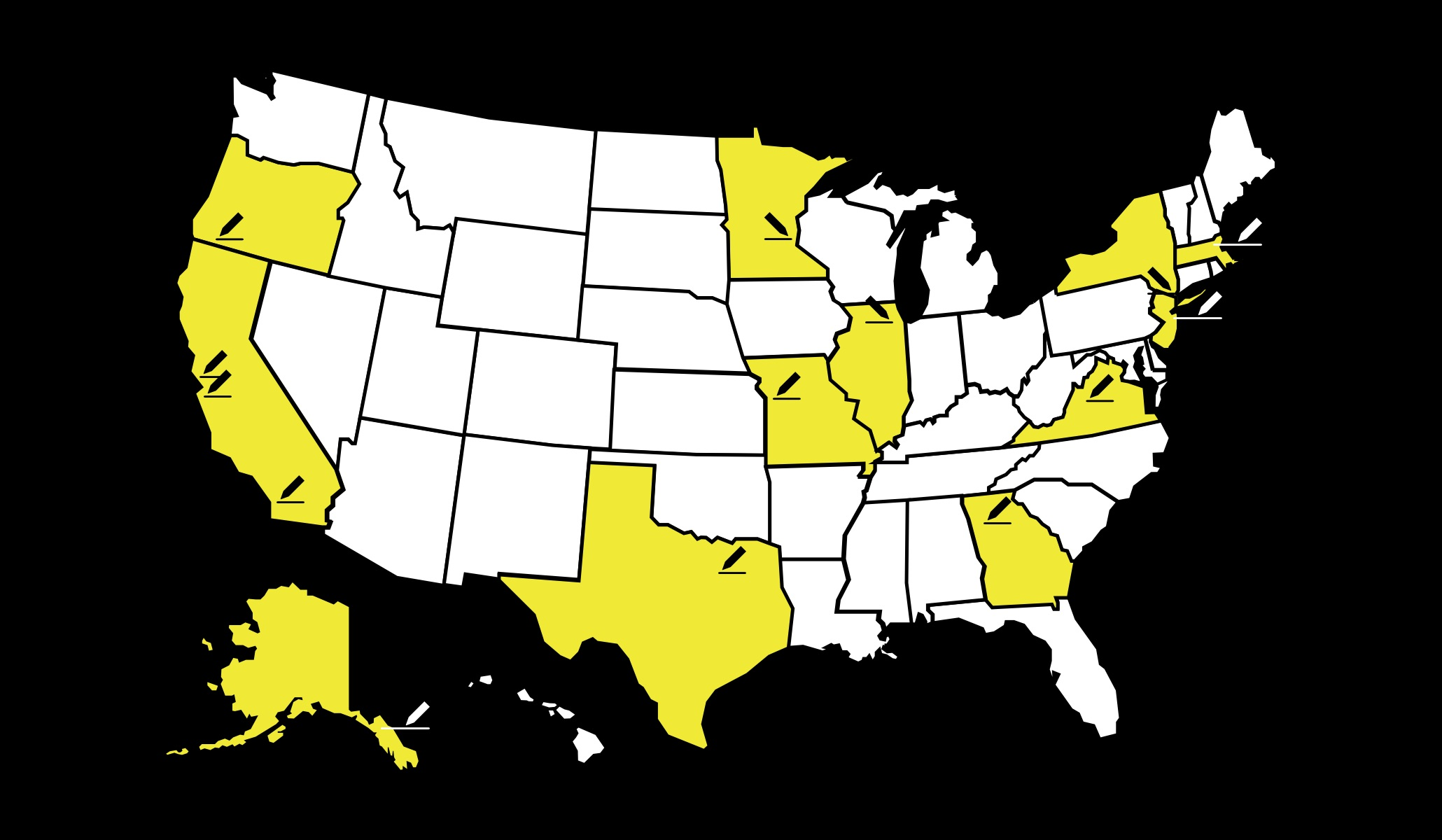 a map of locations across the US where the playwright residencies take place.