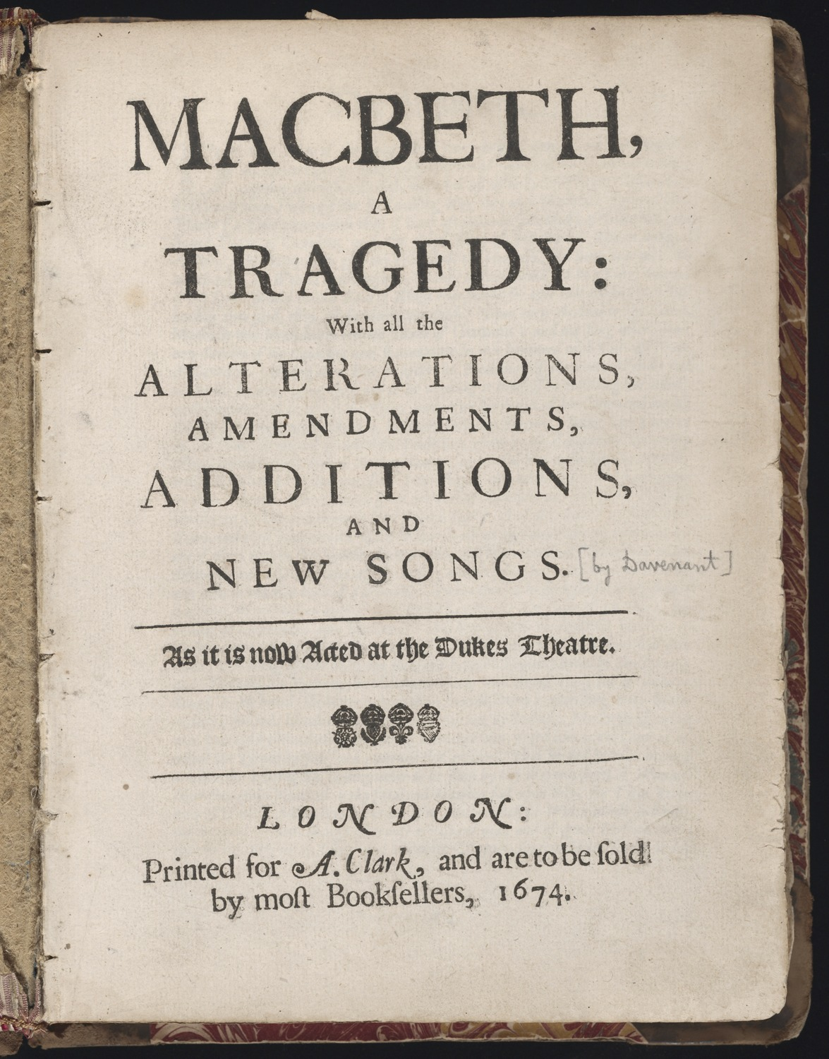 Title page of a restoration-era edition of Macbeth
