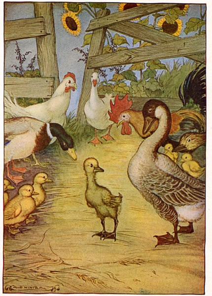 A painting of a duckling on a farm with other birds looking at it