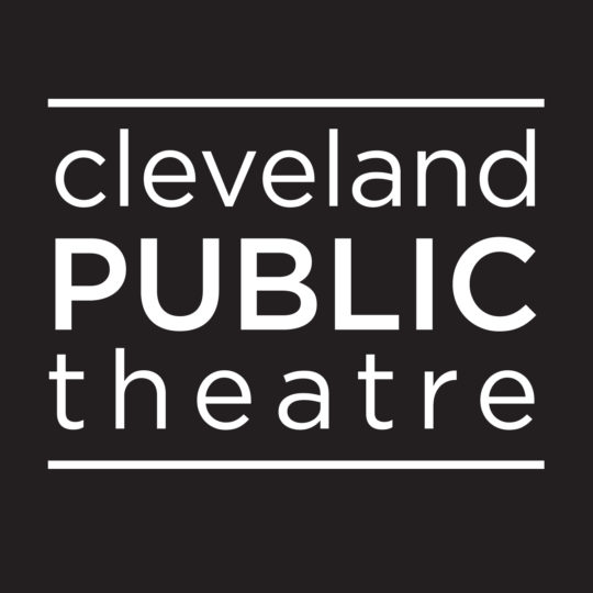black and white text Cleveland Public Theatre