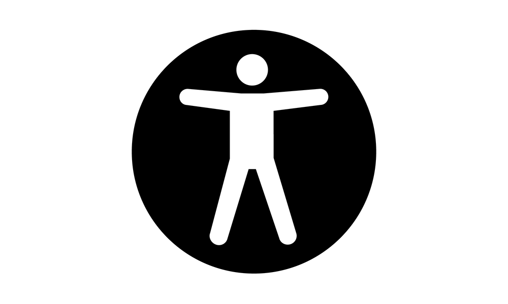 Accessibility icon. A figure of a human with their arms and legs spread in an open position representing universal accessibility for the web