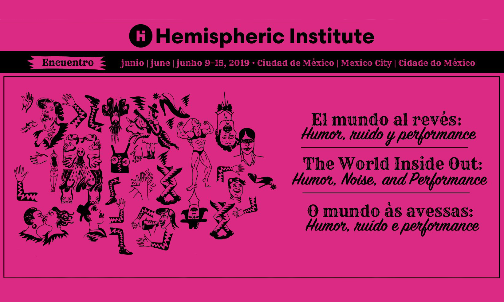 pink flyer for the hemispheric institute 2019