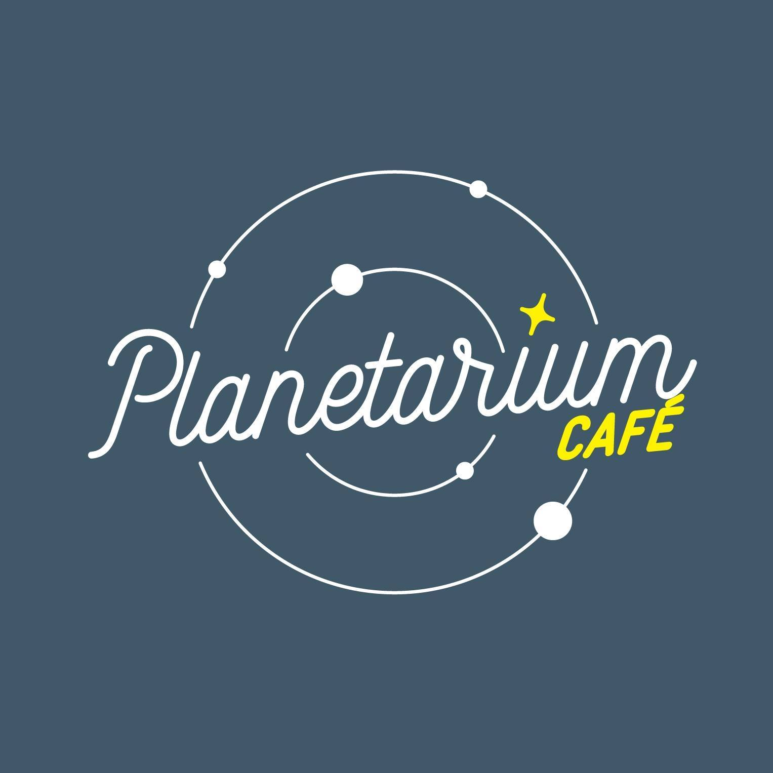 blue solar system logo with text planetarium cafe