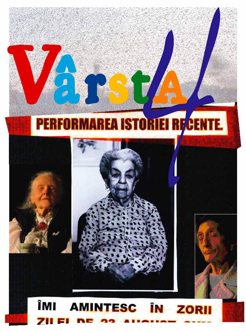 collage of older actors onstage with multicolored text varsta 4