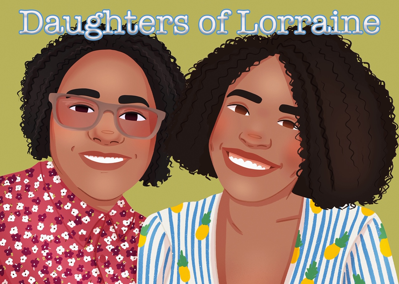 Daughters of Lorraine podcast logo of two smiling black women