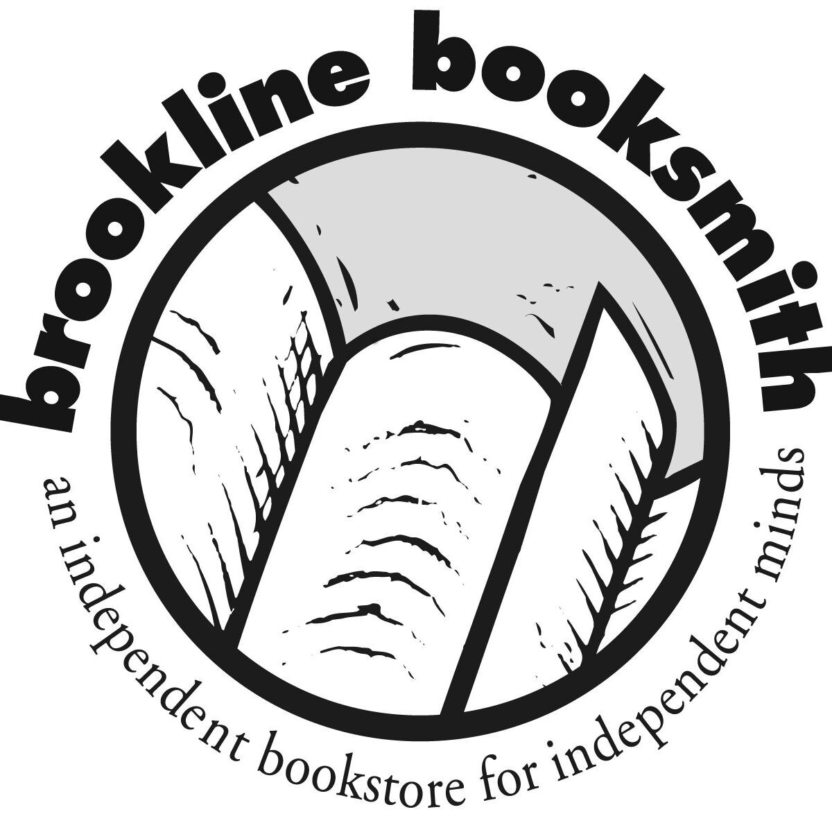 black and white book illustration with brookline booksmith text