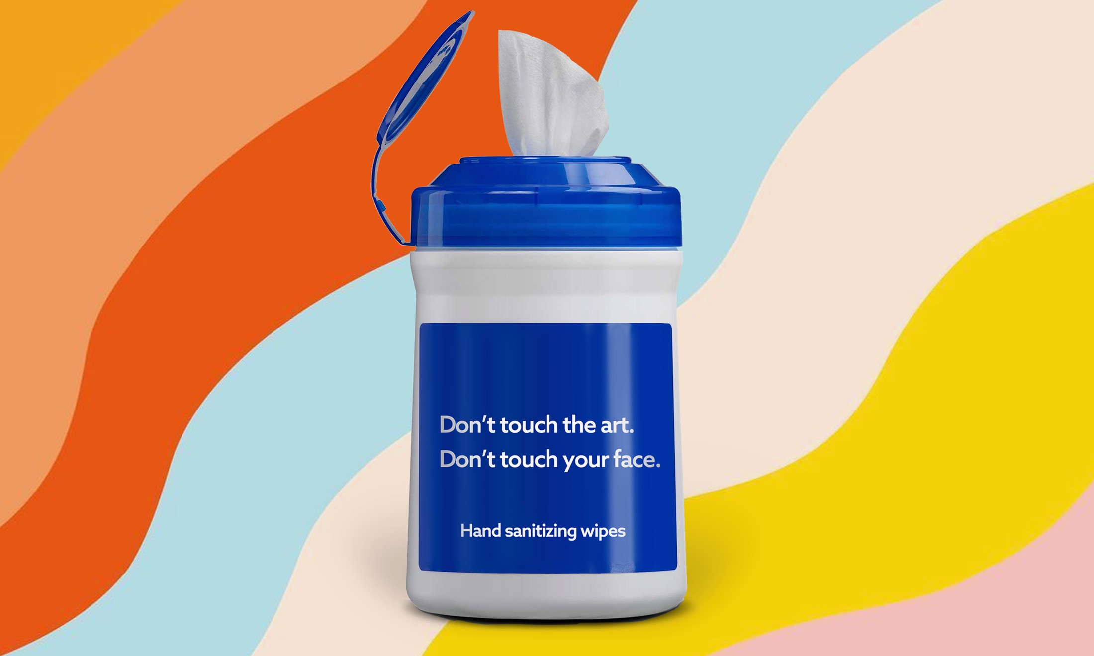 "image of cleaning wipes with the word ""Don't Touch The Art"""