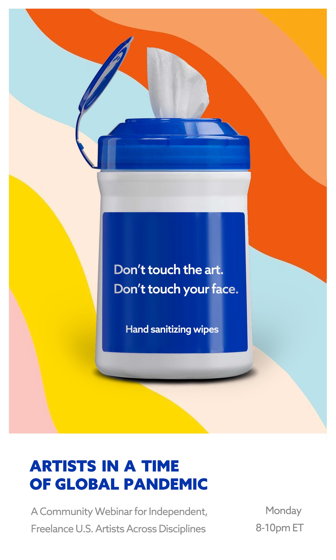 "cleaning wipes that say ""don't touch my art""."
