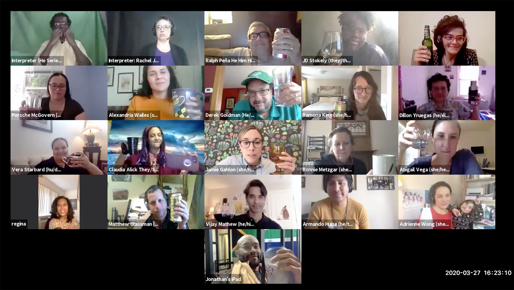a zoom call screenshot of 21 participants