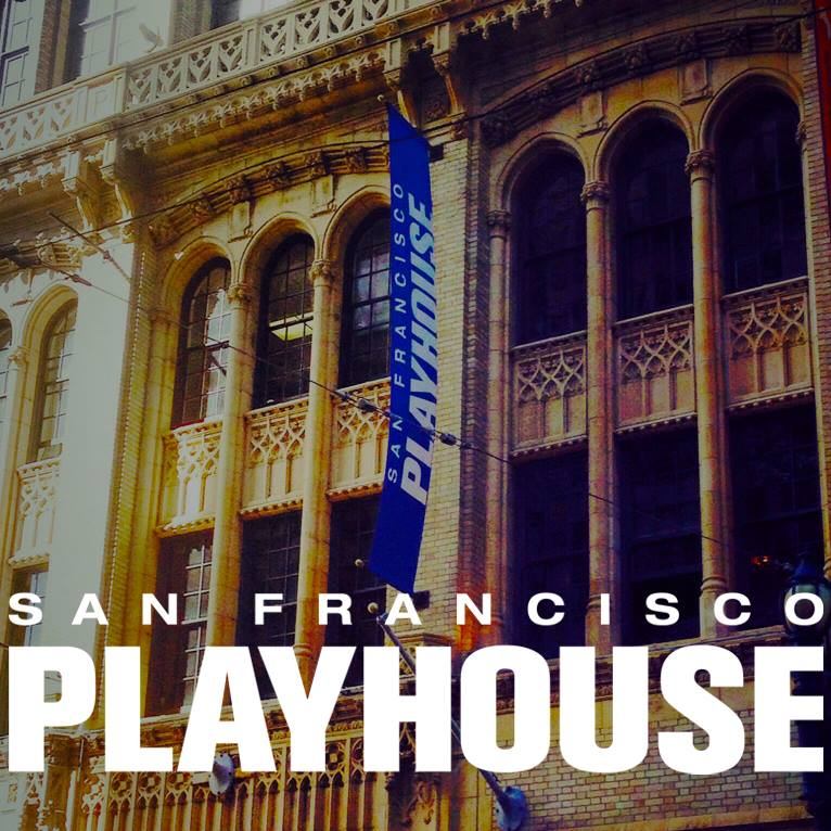 photo of theater building with text SF PLAYHOUSE