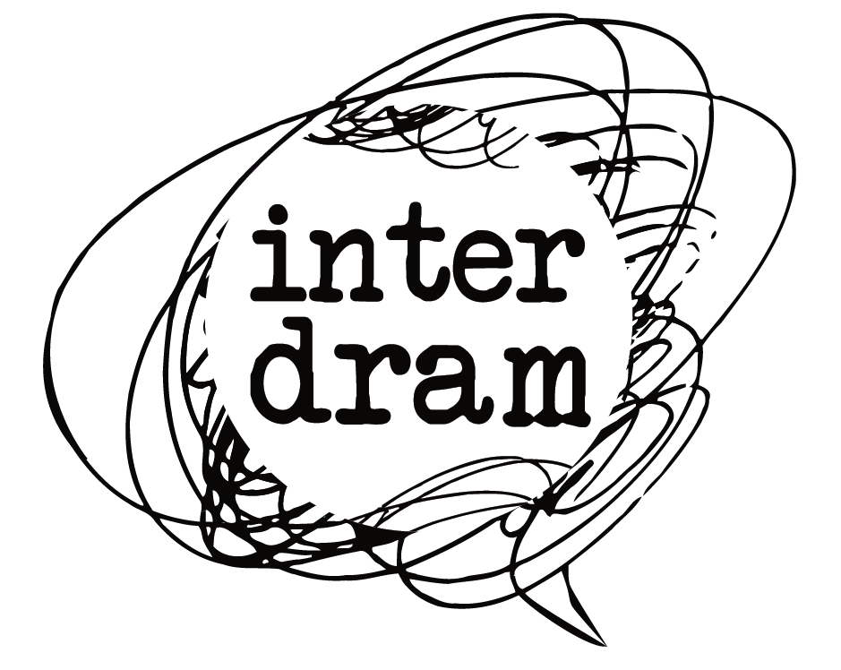black and white scribble with text interdram