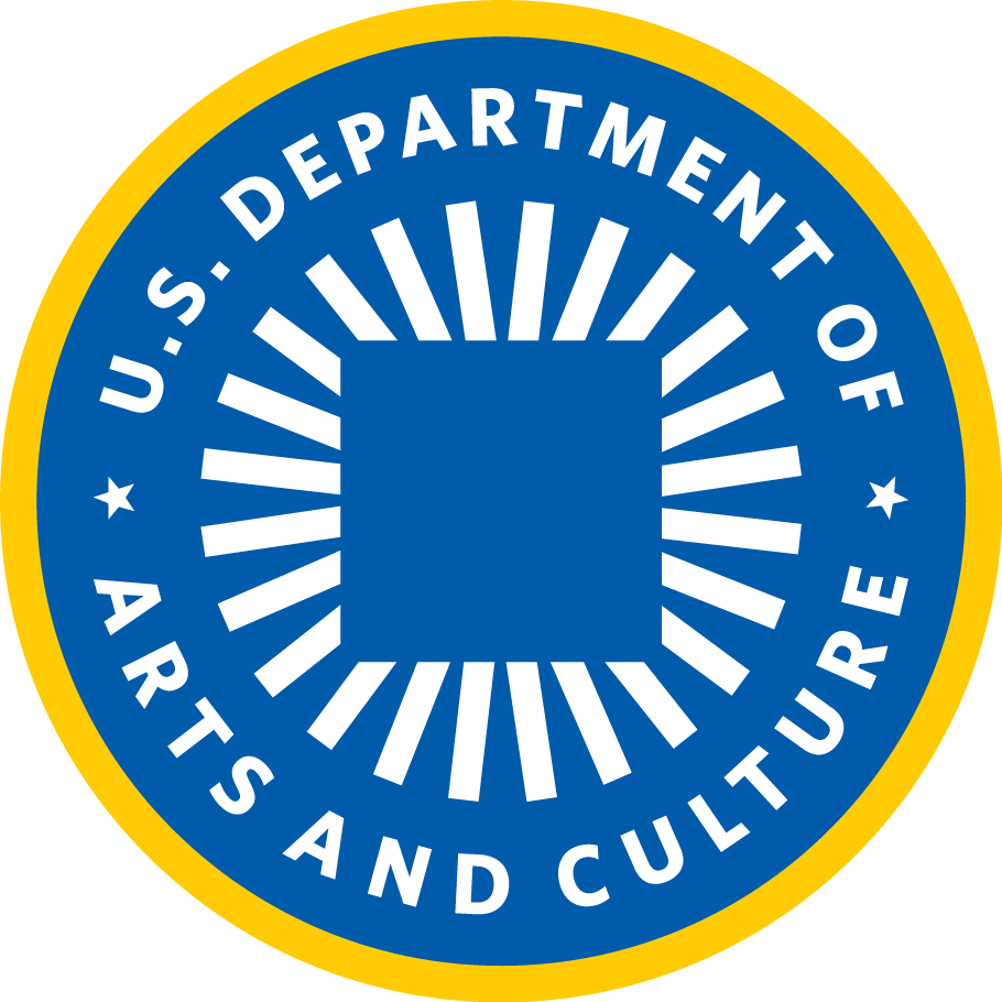 blue and yellow seal with text US DEPARTMENT OF ARTS AND CULTURE