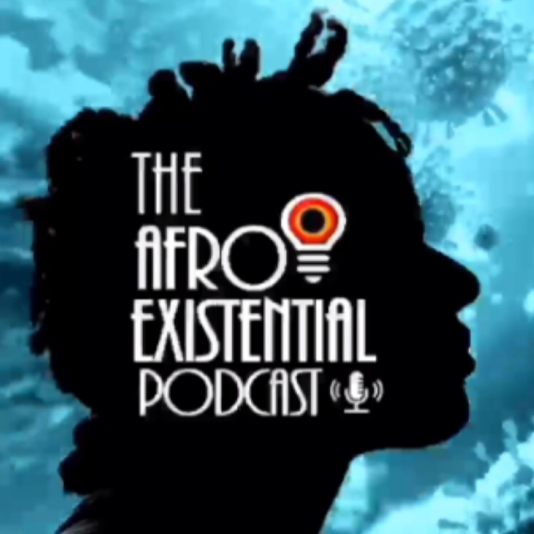 silhouette of profile with white text afro existential podcast