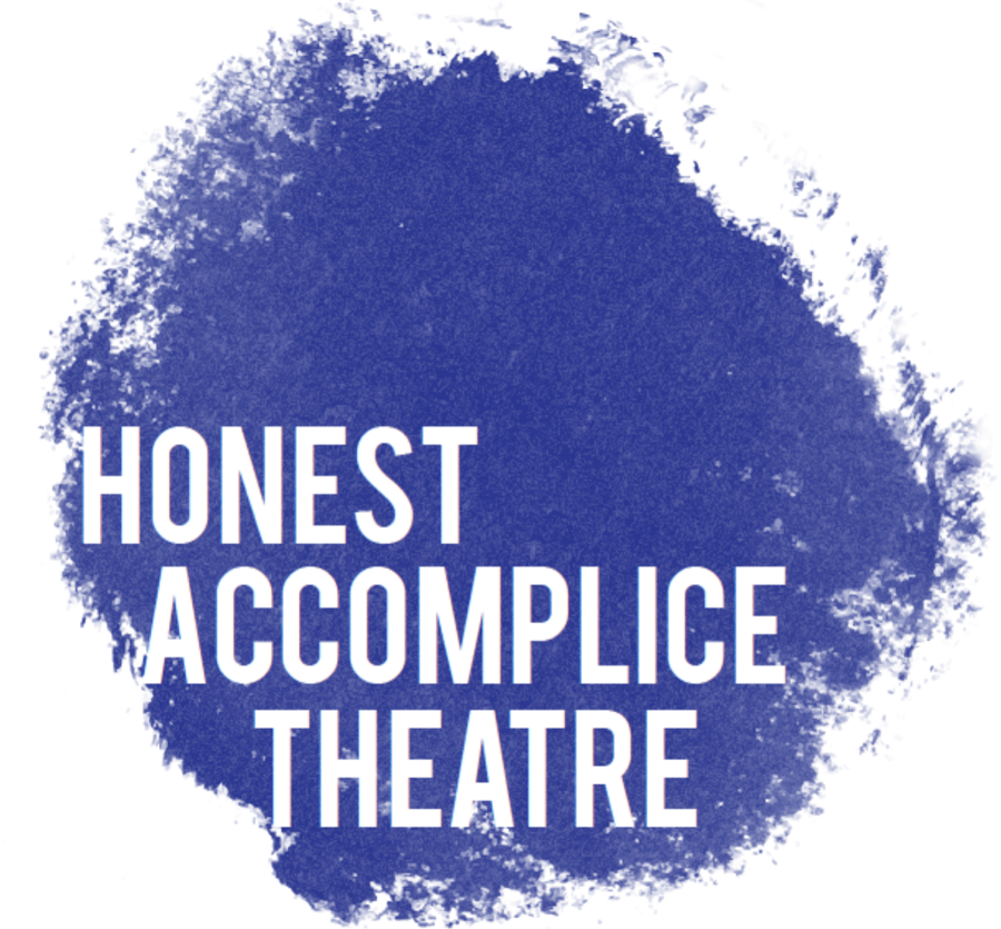 purple ink with white text honest accomplice theatre