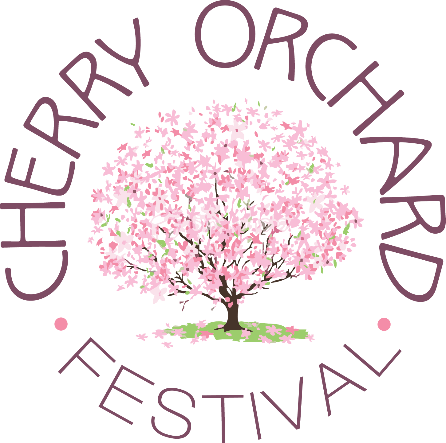 illustration of pink cherry tree in full bloom