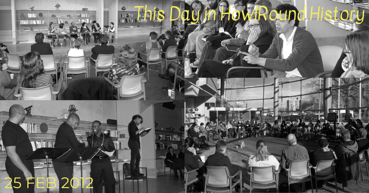 black and white photo array of people at a conference. Text reads This Day in HowlRound History""