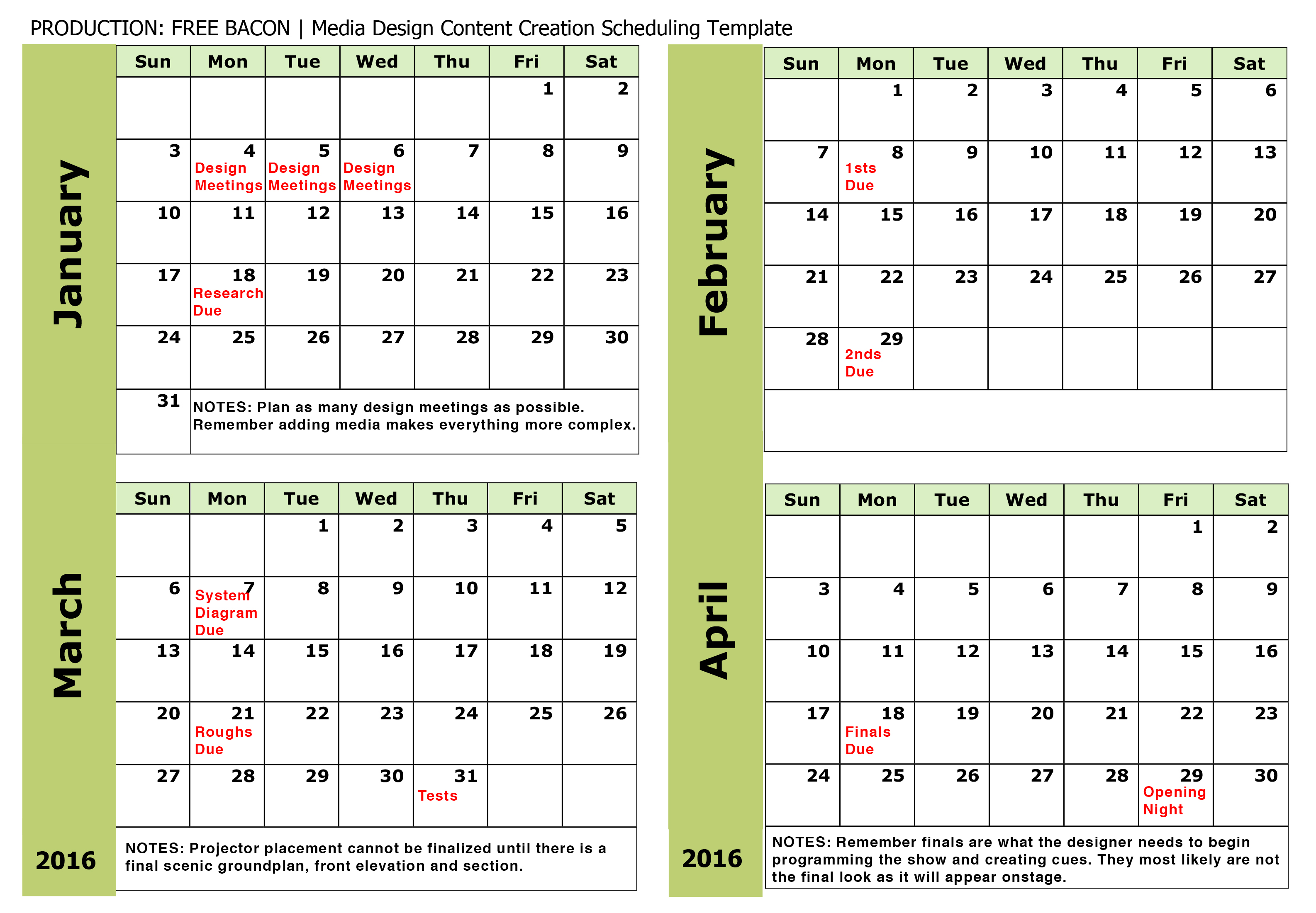 Accounting For Media In The Production Schedule HowlRound - Video production timeline template