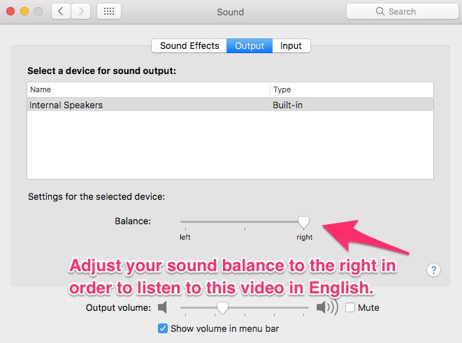 Screenshot of sound settings page