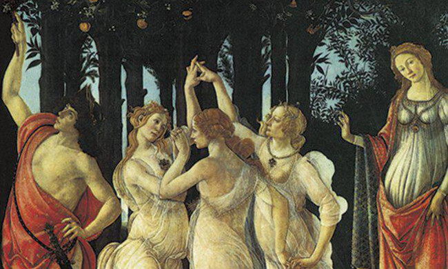 A classical art piece showing three women dancing.