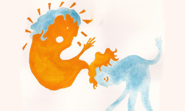 A watercolor art piece in which a blue figure and an orange figure interact with each other.