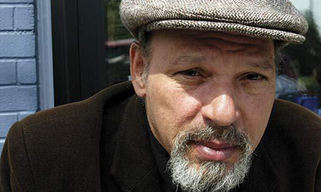 A portrait of playwright August Wilson