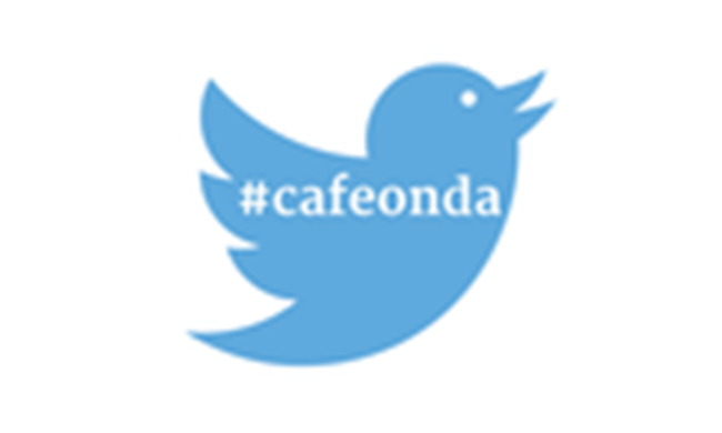 Twitter logo with #cafeonda inside of it.