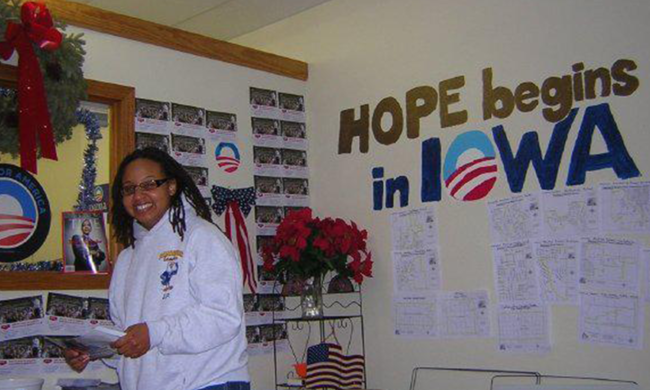 Working on the Obama campaign.