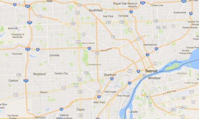 A Google Maps view of Detroit.
