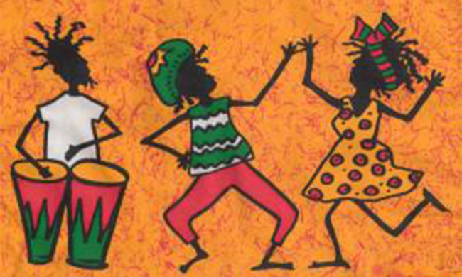 Art depicting people dancing.