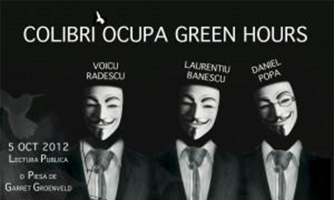 "A poster that reads ""Colibri Ocupa Green Hours."""