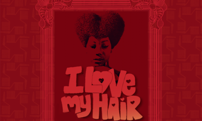 "A woman looks down at text that reads ""I Love My Hair."""