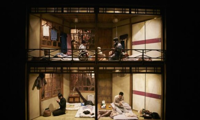 photo of stage depicting a japanese house