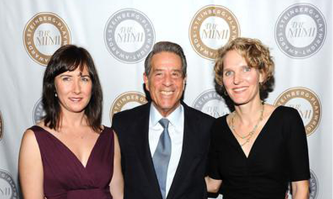 Lisa D'Amour, Melissa James Gibson, and Michael Steinberg at an awards ceremony.