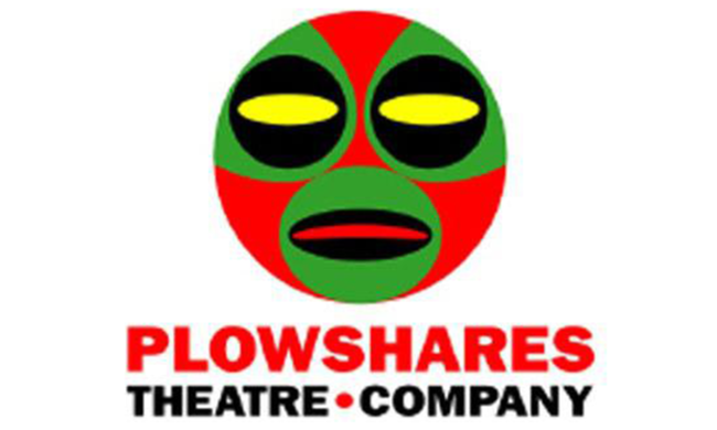 A logo for Plowshares Theatre Company with a face above the name of the company.