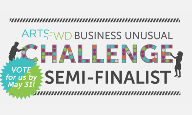 A banner denoting a semifinalist in a crowdsourcing competition.