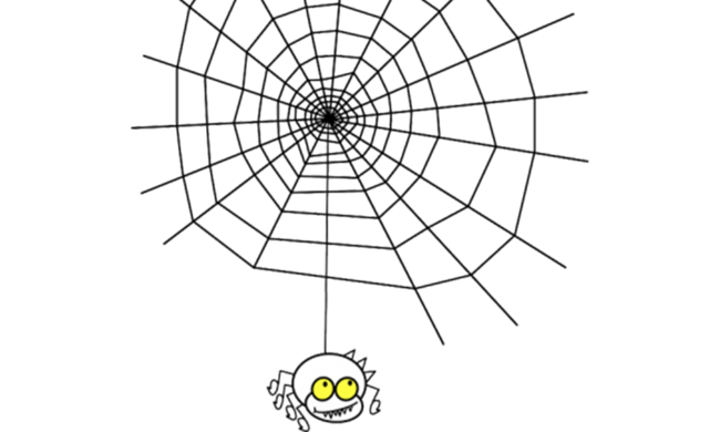 A cartoon spider hanging from a web.