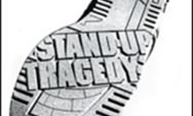 The cover of Stand Up Tragedy, a play by Bill Cain. The title of the play is etched into the bottom of a shoe.