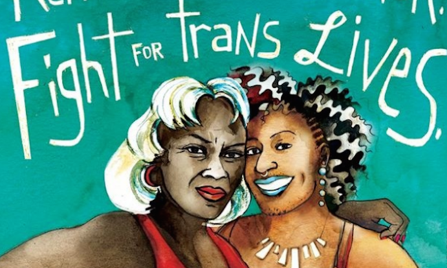 Illustration of two Black trans women with the text fight for trans lives