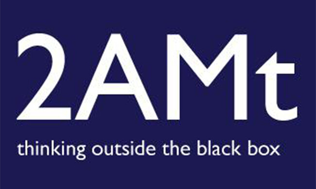"A logo that reads ""2AMt: thinking outside the black box"""