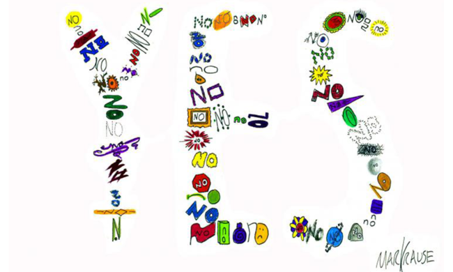 Many doodles of the word no arranged to form the word yes.