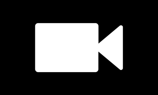white video camera icon on black background