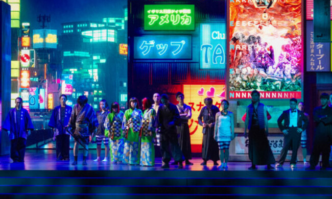 actors in traditional japanese dress against neon tokyo background