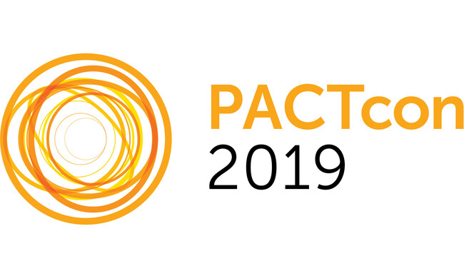 layered orange circles with text PACT con 2019