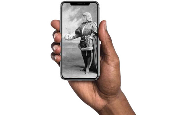 hand holding a cell phone screen depicting a classical painting