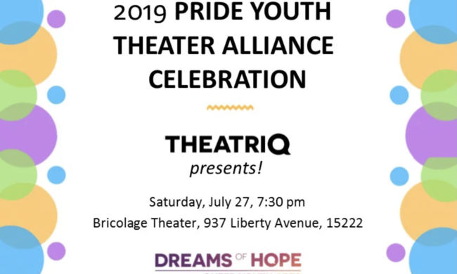 Pride Youth Theater Alliance flyer 2019 framed with colorful bubbles