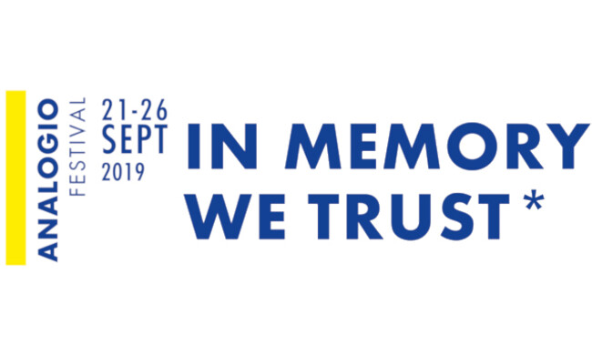 white background with blue text Analogio: in memory we trust