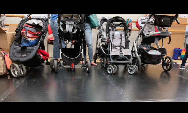 a row of strollers