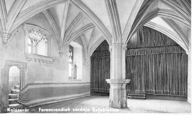black and white drawing of a large interior