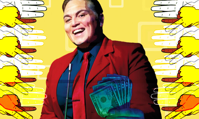 actor holding money against yellow background
