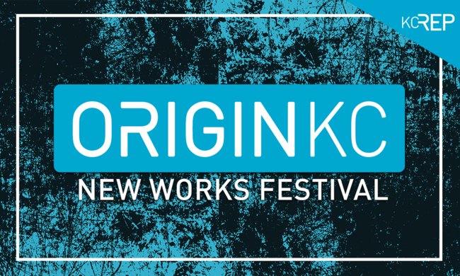 blue logo with white text ORIGIN K C new works festival